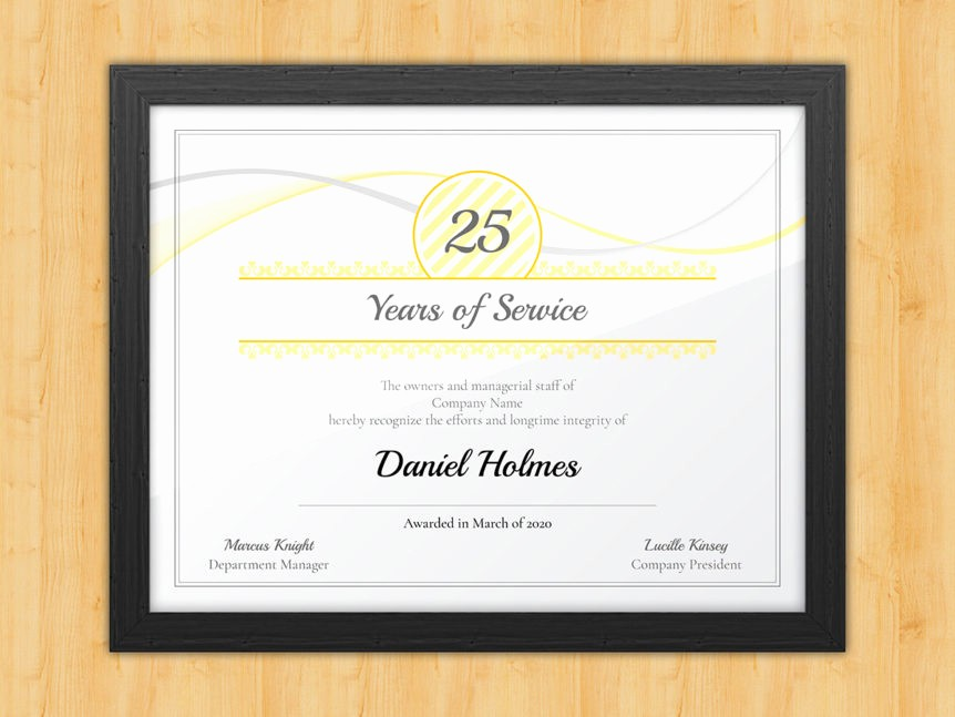 Certificates for Years Of Service Fresh Longevity Years Of Service Certificate Award Avenue
