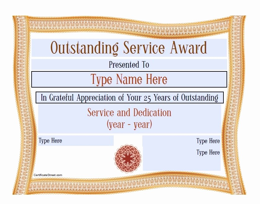 Certificates for Years Of Service Inspirational 50 Amazing Award Certificate Templates Template Lab