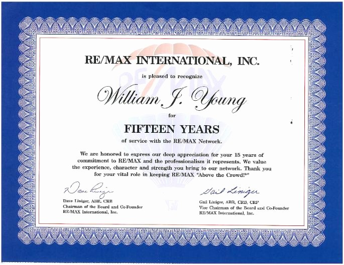 Certificates for Years Of Service Inspirational Awards William J Young