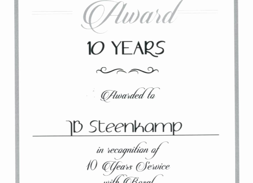 Certificates for Years Of Service Inspirational Years Service Certificate Template Award Free Templates