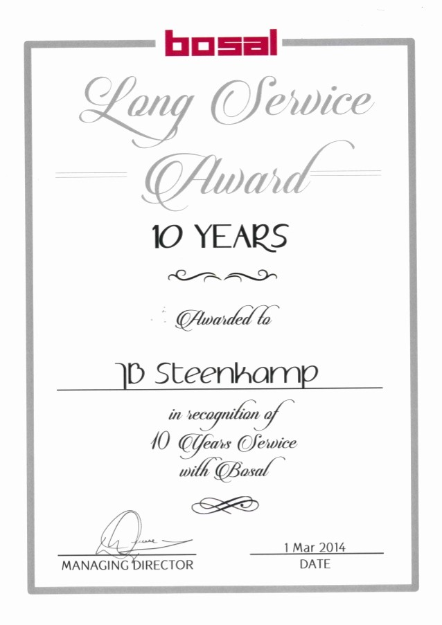 Certificates for Years Of Service Luxury 10 Years Long Service Award
