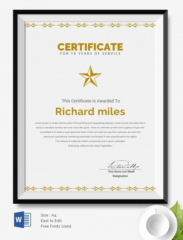 Certificates for Years Of Service Luxury 25 Certificate Templates