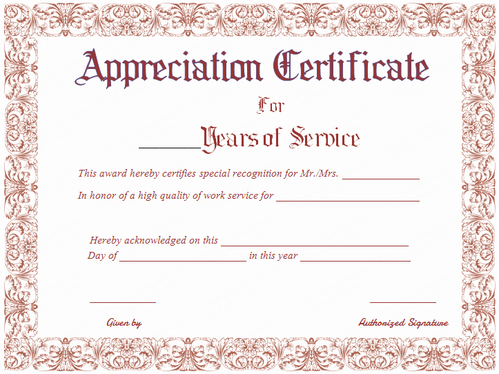 Certificates for Years Of Service Luxury Free Printable Appreciation Certificate for Years Of Service