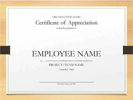 Certificates for Years Of Service New Printable Word and Excel Examples