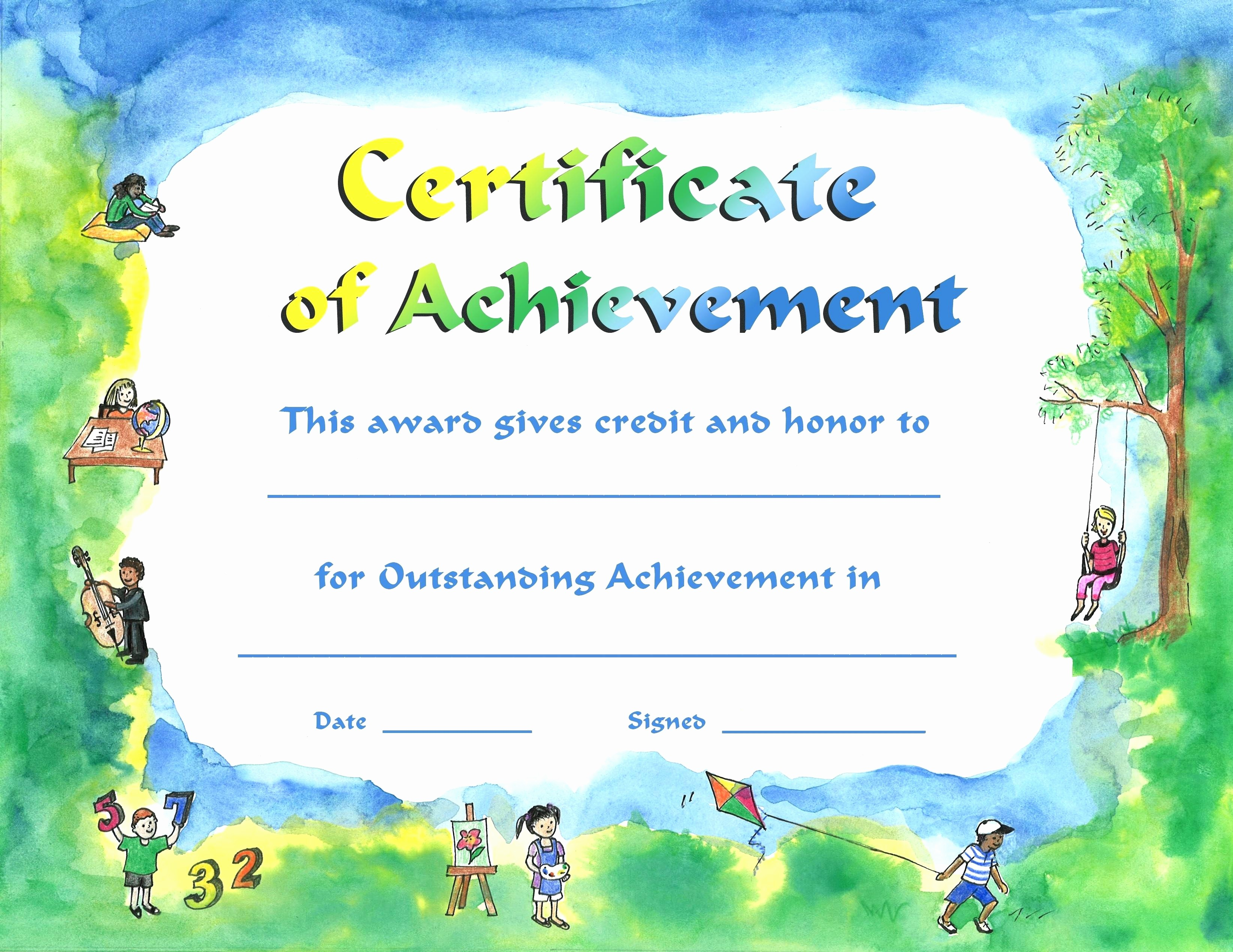 Certificates Of Achievement for Students Best Of Template Certificate Achievement Template for Kids