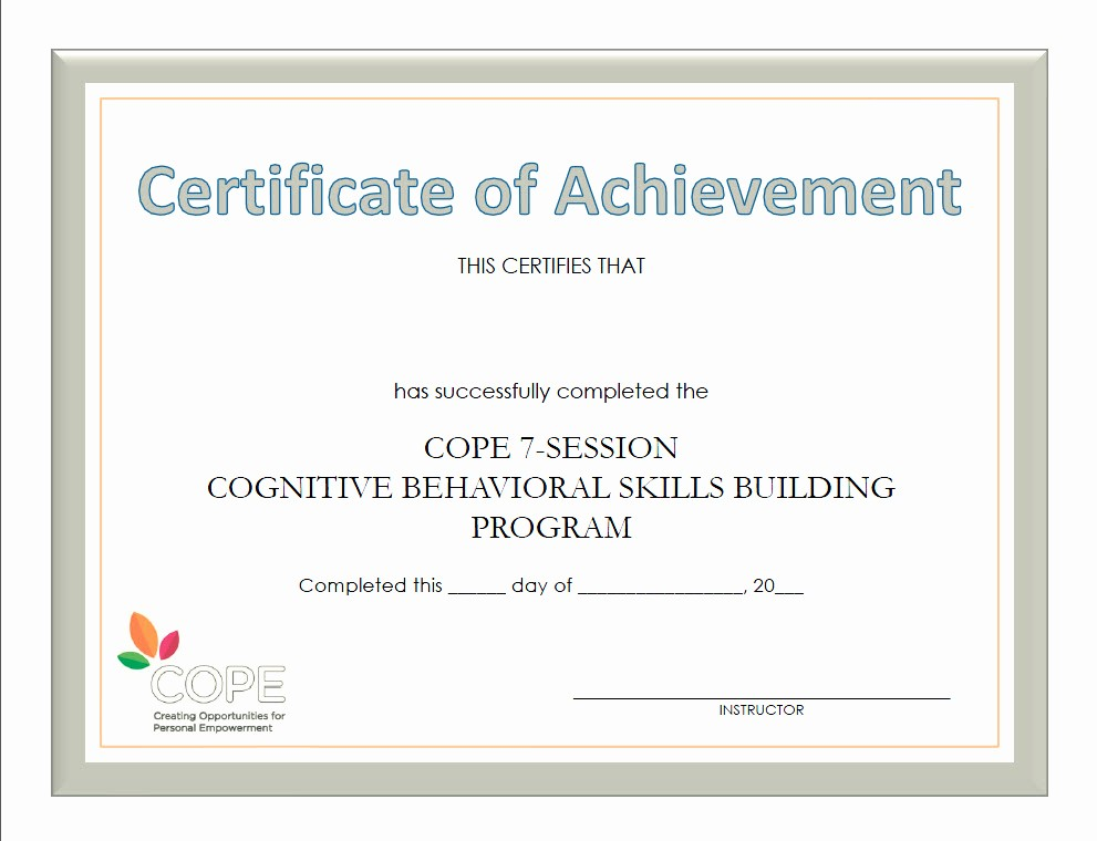 Certificates Of Achievement for Students Fresh Cope Instructor Resources Cbt Based Programs