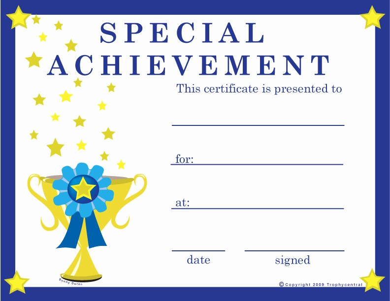 Certificates Of Achievement for Students Fresh Free Special Achievement Certificates Certificate Free