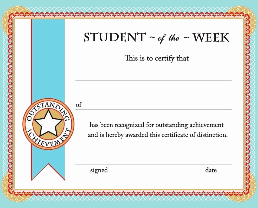 Certificates Of Achievement for Students Inspirational Student Of the Week Certificate Free Printable