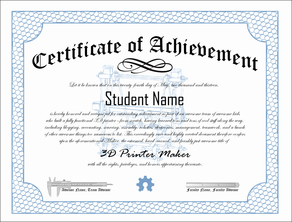 Certificates Of Achievement for Students Luxury thefrankes · 3d Printer Club Certificate Of Achievement