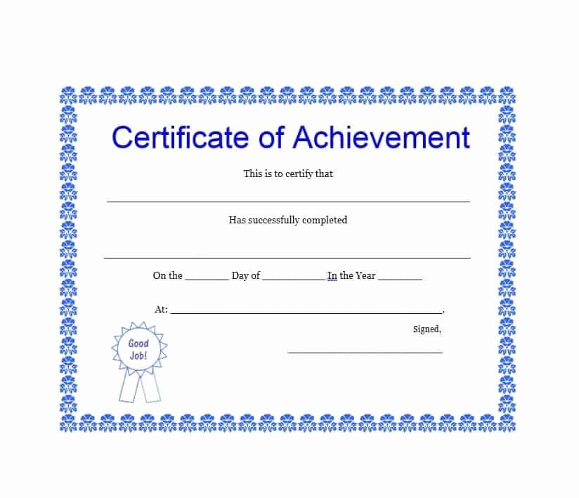 Certificates Of Achievement Templates Free Elegant 40 Great Certificate Of Achievement Templates Free
