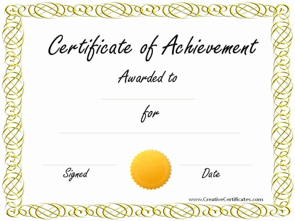 Certificates Of Achievement Templates Free Fresh Free Customizable Certificate Of Achievement