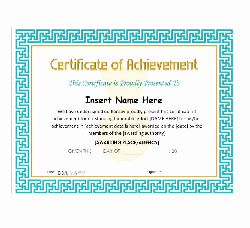 Certificates Of Achievement Templates Free Inspirational 40 Great Certificate Of Achievement Templates Free