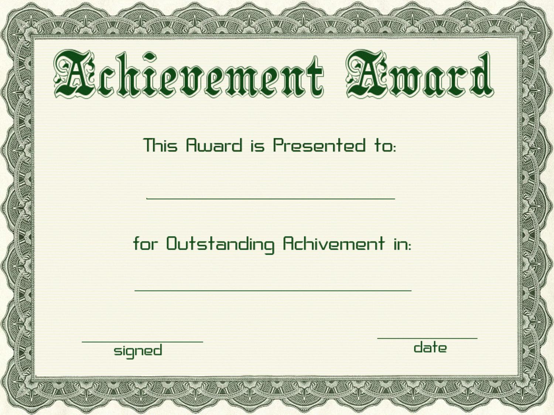 Certificates Of Achievement Templates Free Unique Award Certificate Template