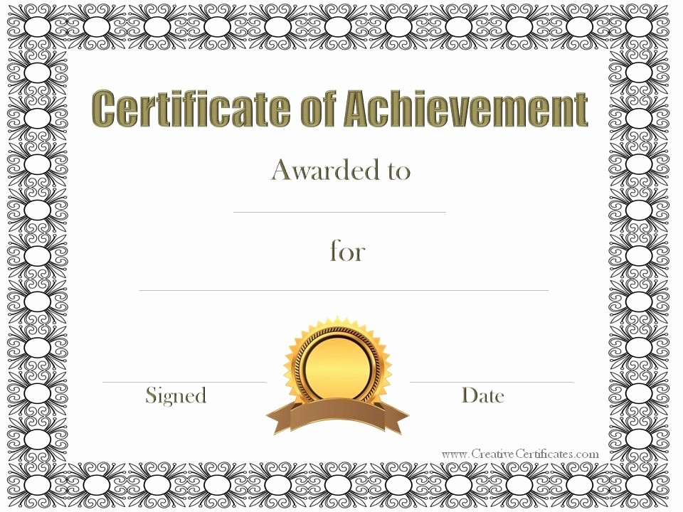 Certificates Of Achievement Templates Free Unique Certificate Of Achievement Template Free Customizable