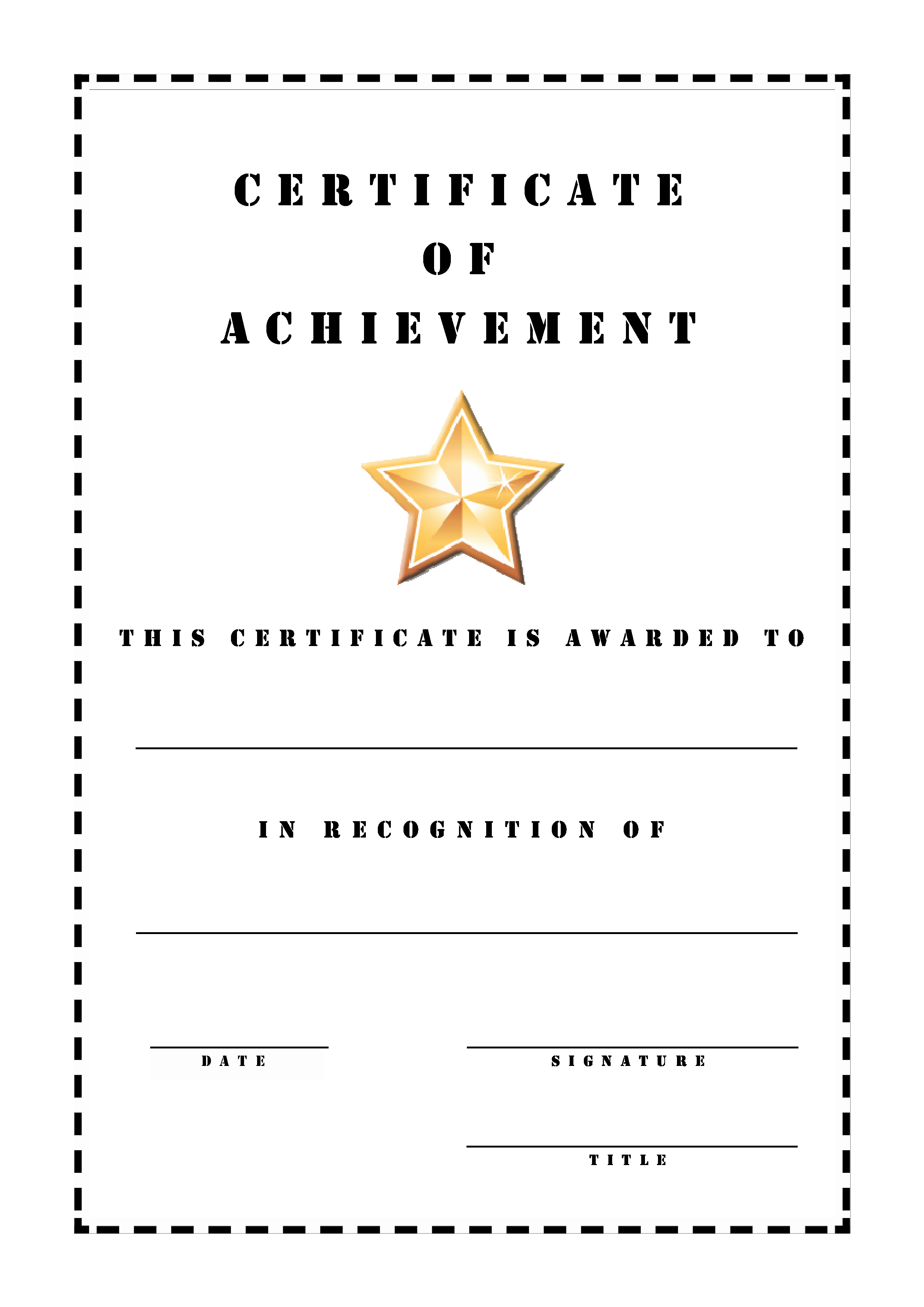 Certificates Of Achievement Templates Free Unique Free Certificate Achievement Stencil
