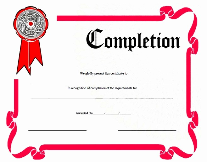 Certificates Of Completion Template Word Awesome Certificate Templates