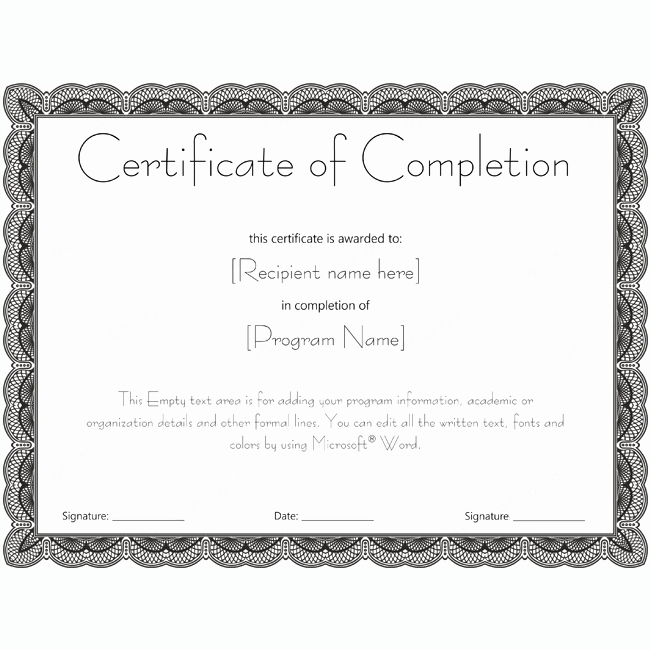 Certificates Of Completion Template Word Beautiful Certificate Of Pletion 20 Word Layouts