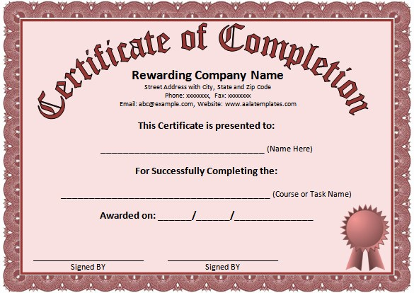 Certificates Of Completion Template Word Beautiful Word Certificate Template 49 Free Download Samples