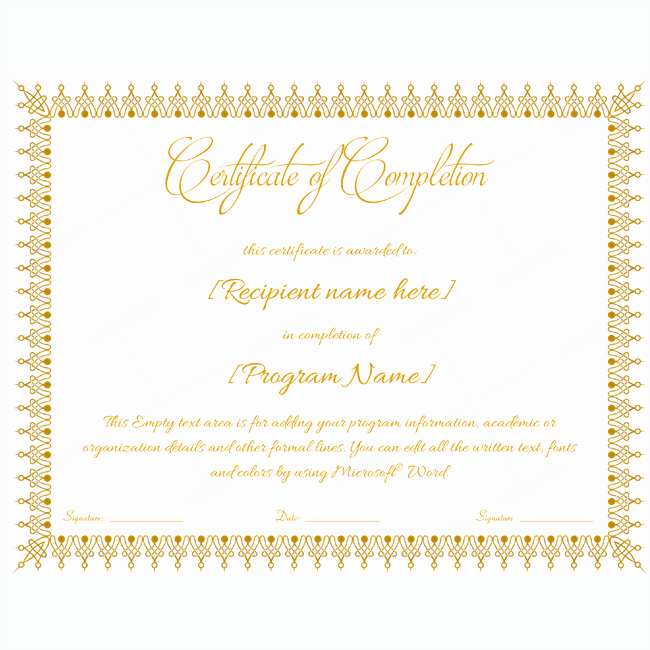 Certificates Of Completion Template Word Fresh Certificate Of Pletion 18 Word Layouts