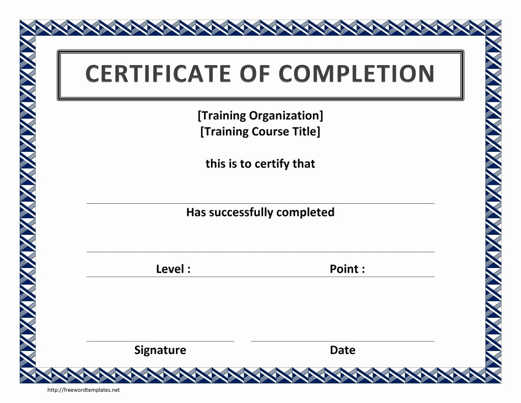 Certificates Of Completion Template Word Fresh Training Certificate Template