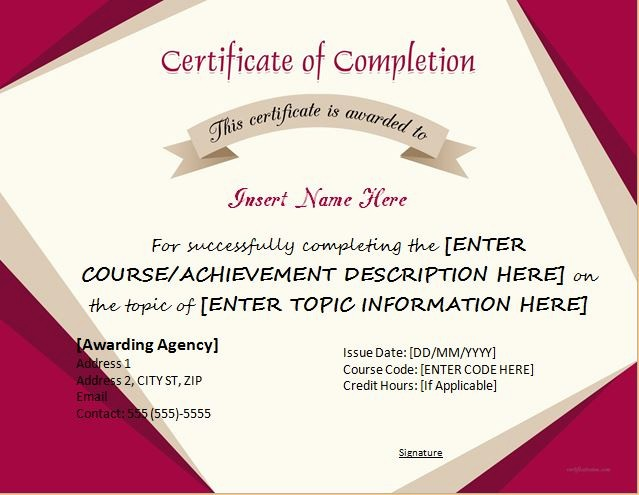 Certificates Of Completion Template Word Inspirational Certificates Of Pletion Templates for Microsoft Word