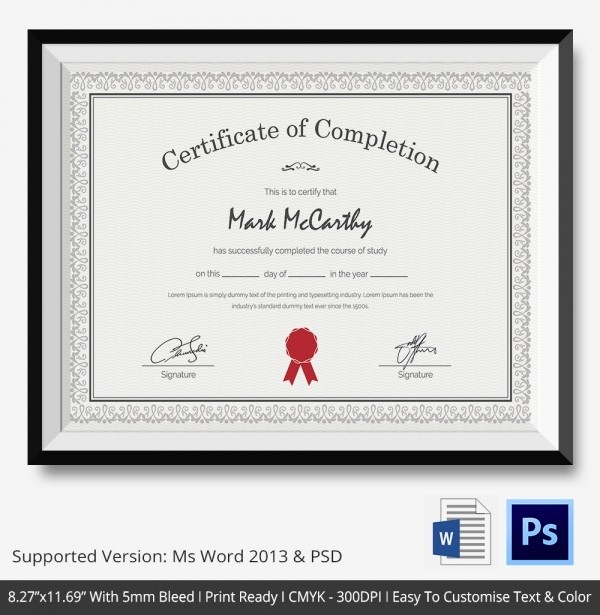 Certificates Of Completion Template Word Luxury Certificate Of Pletion Template 31 Free Word Pdf