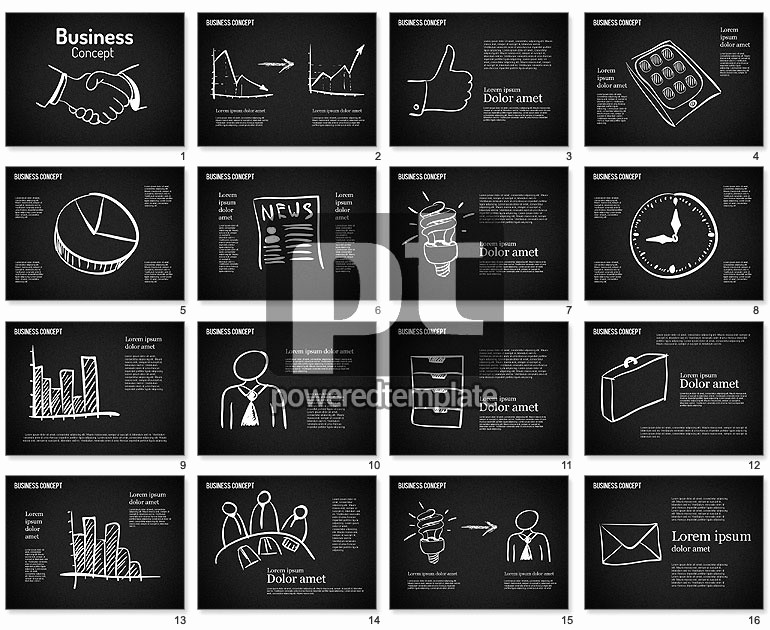 Chalkboard Powerpoint Template Free Download Elegant Business Shapes On Chalkboard for Powerpoint Presentations