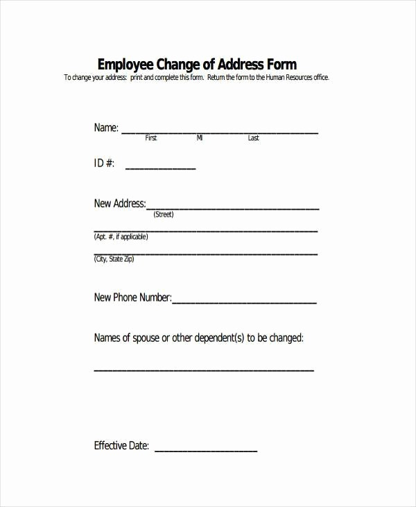 Change Of Address Template Word Fresh Sample Employee Address forms 7 Free Documents In Word Pdf