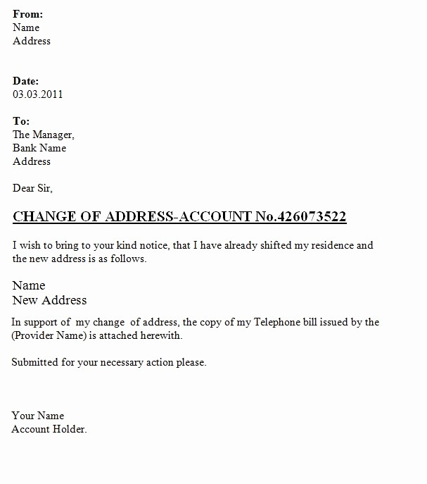Change Of Address Template Word Luxury Change Address Letter to the Bank Template Sample