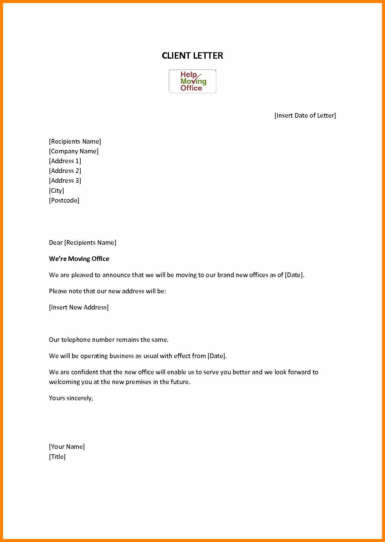 Change Of Address Template Word New Free Change Address Resume Trakore Document Templates