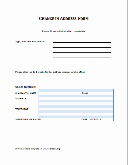 Change Of Address Template Word New Ms Word Change Of Address form