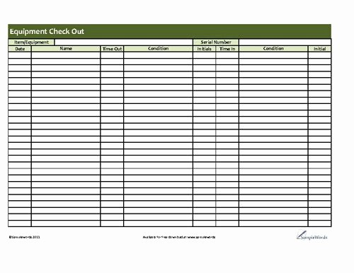 Check In and Out Template Inspirational Printable Equipment Checkout form