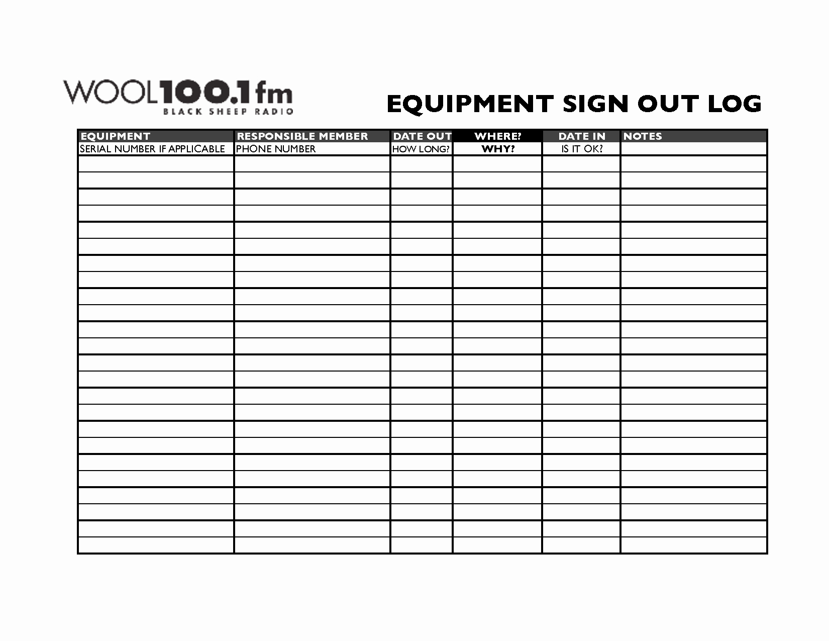 Check In and Out Template Lovely Best S Of Equipment Check Out Sheet Template