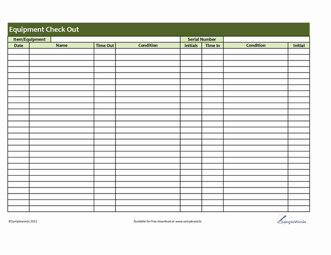 Check In and Out Template New Best S Of Equipment Check Out form Template