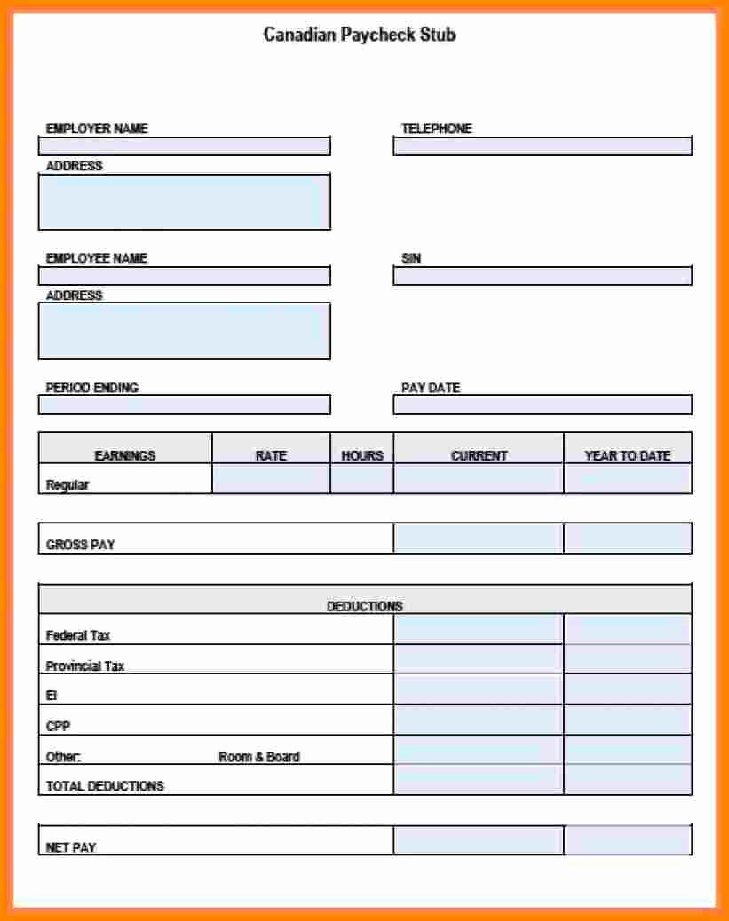 Check Stub Template for Excel Awesome 12 Pay Stub Example Excel