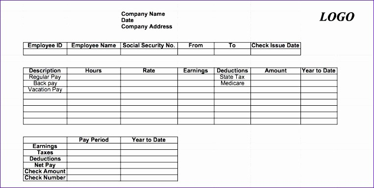 Check Stub Template for Excel Awesome 7 Excel Paycheck Template Exceltemplates Exceltemplates