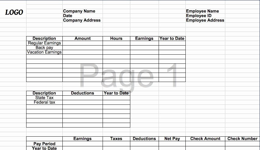 Check Stub Template for Excel Elegant 25 Great Pay Stub Paycheck Stub Templates