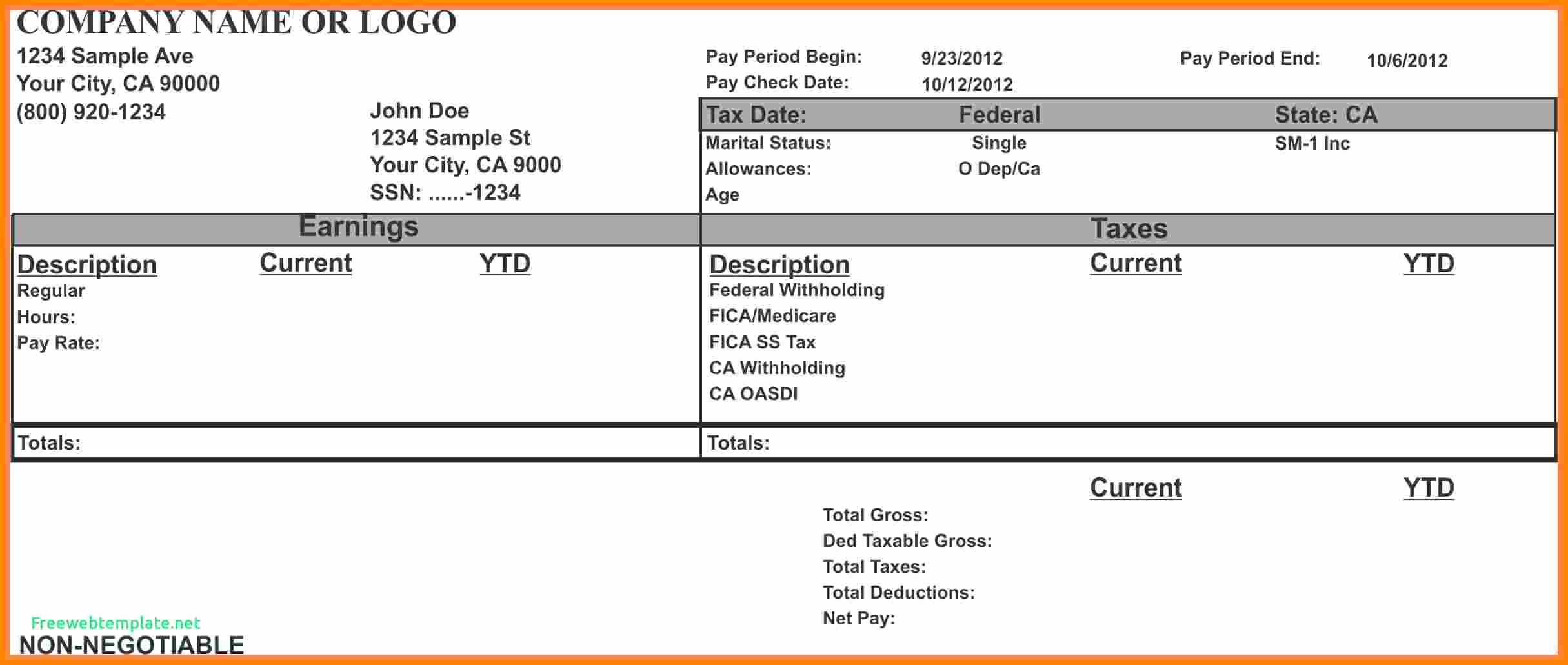 Check Stub Template for Excel Luxury 7 Paycheck Stub Template for Excel