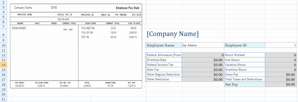 Check Stub Template for Excel Unique Free Employee Pay Stub Excel Template