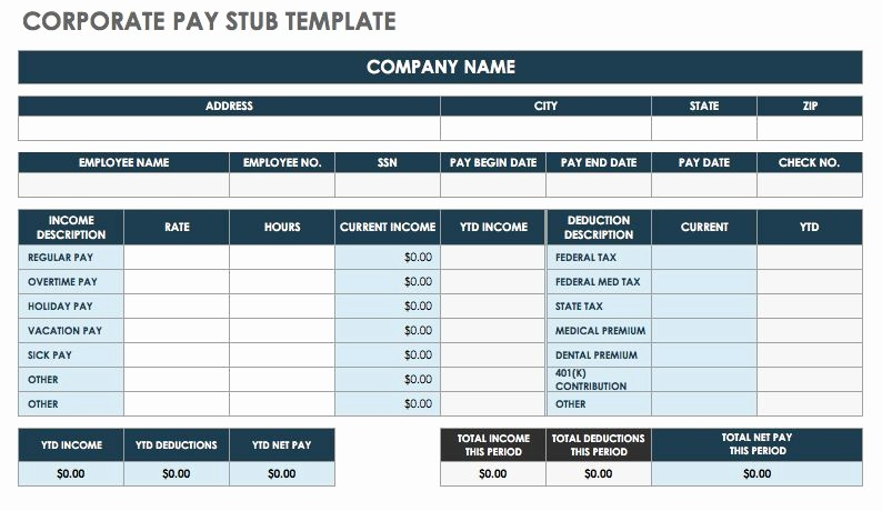 Check Stub Template for Excel Unique Free Pay Stub Templates
