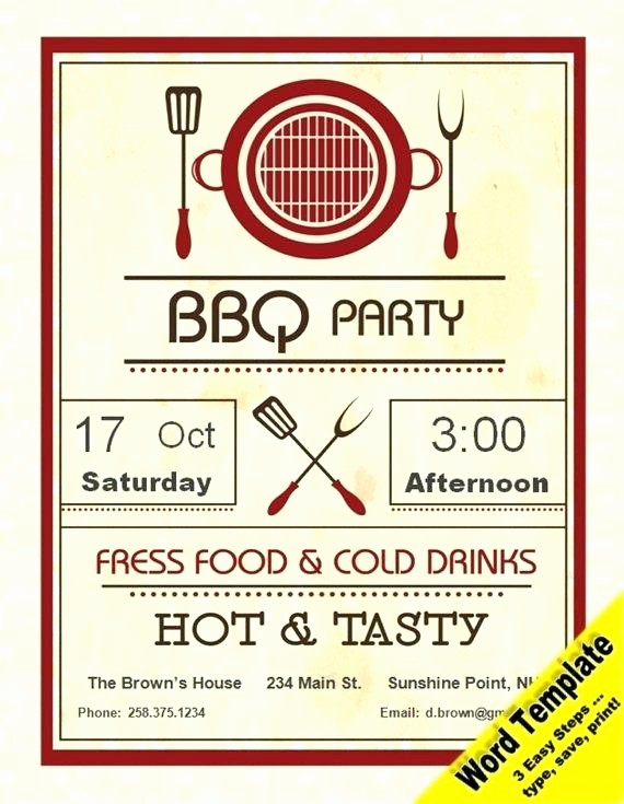 Chicken Plate Sale Ticket Template Inspirational Barbecue Party Invitation Editable Word Template Printable