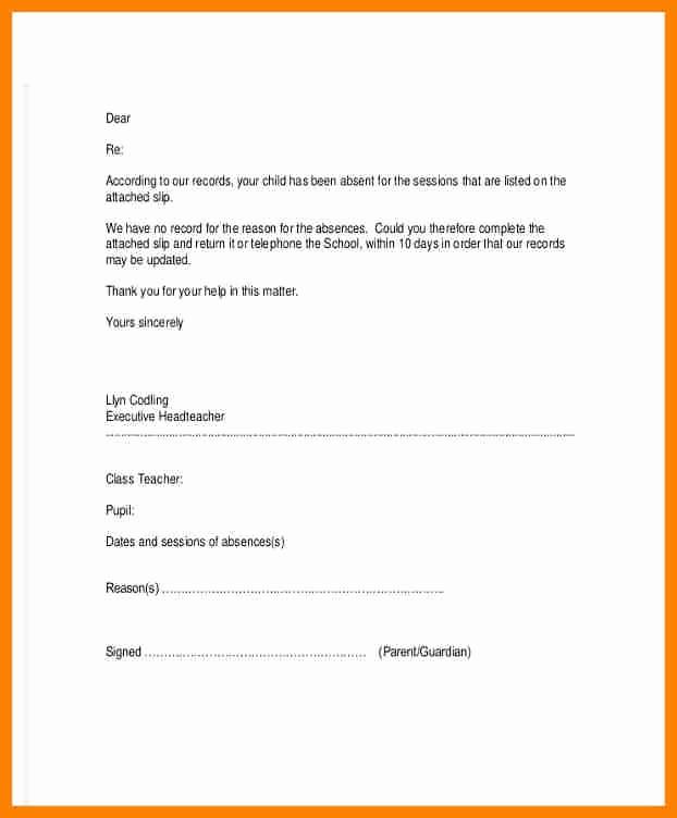 Child Absence From School Letter Elegant Child Absence Letter Romeondinez