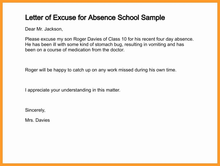 Child Absence From School Letter Elegant Letter Writing for Absent In School Sample Of A Leave Of