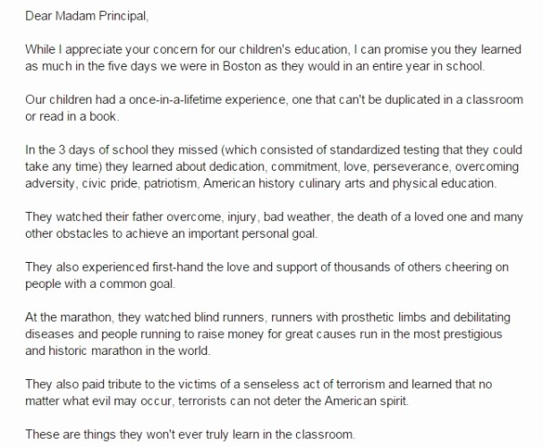 Child Absence From School Letter Fresh Dad Writes Excellent Letter to Principal Defending