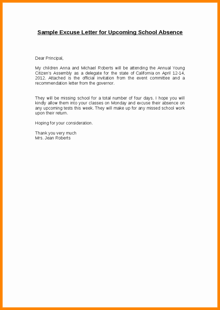 Child Absence From School Letter Inspirational 6 Sample Letter Of Absence From School