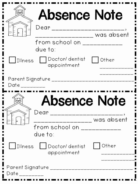 Child Absence From School Letter Inspirational Handy Dandy Absence Note form for Parents