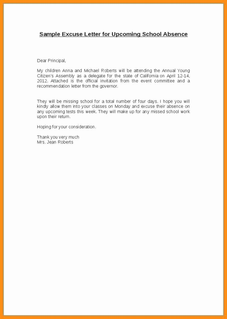 Child Absence From School Letter New 5 6 Excused Absence From School Letter