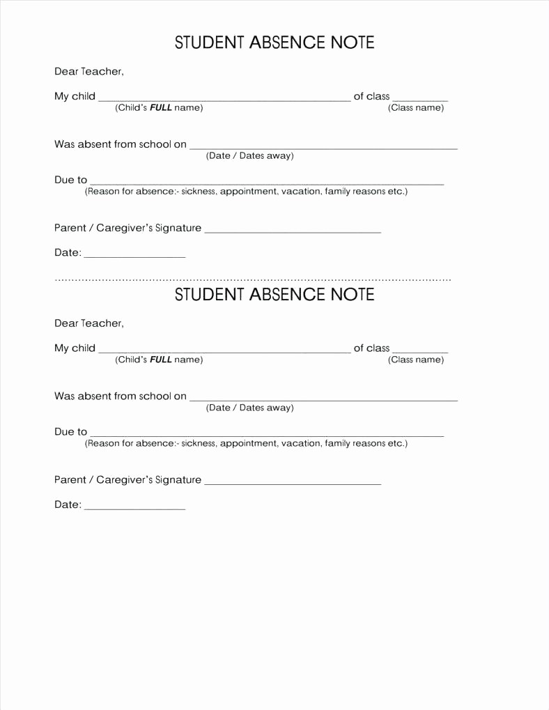 Child Absence From School Letter New Absence Note Template