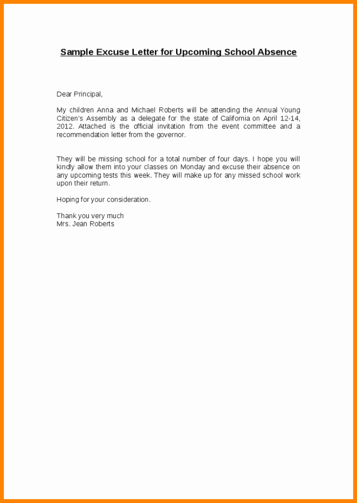 Child Absent From School Letter Beautiful Excuse Letter for Sickness – Balti Templates