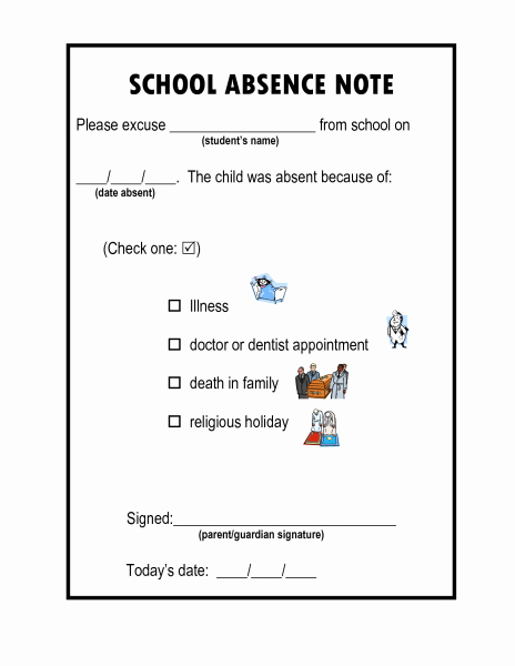 Child Absent From School Letter Best Of the School Excuse